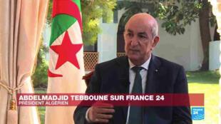 Capture d'écran d'un extrait de l'interview du président algérien Abdelmadjid Tebboune sur France 24.