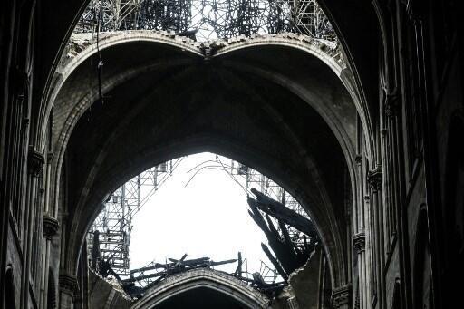 Catedral de Notre-Dame de Paris após o incêndio. 16 de Abril de 2019.
