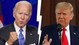 2020年美国总统大选民主和共和两党候选人拜登与特朗普资料图片