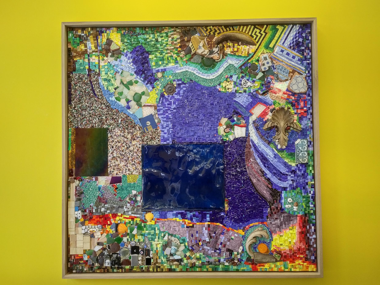 """""""Mosaico Mediterráneo"""", obra a cuatro manos de María Thereza Alves y Jimmie Durham. Villeurbanne, 1 de marzo de 2018."""
