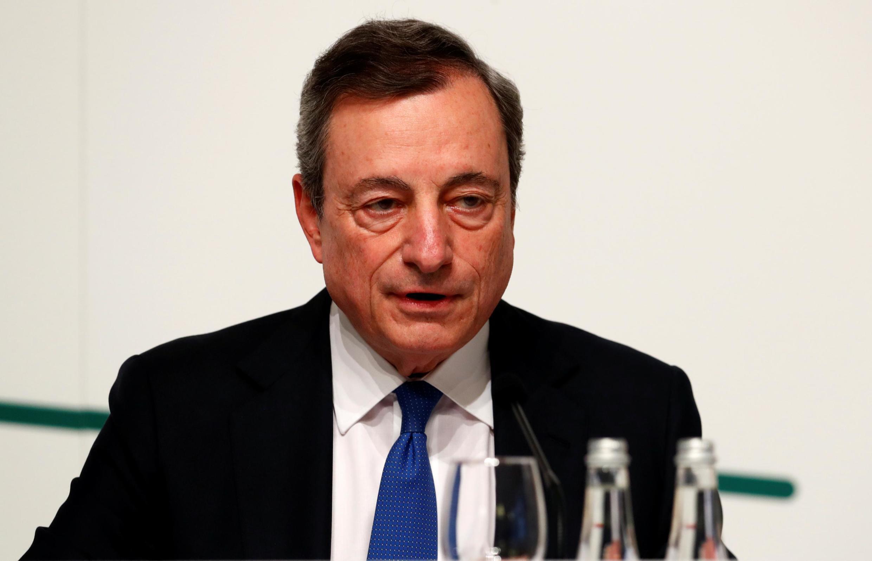 Ông Mario Draghi, chủ tịch Ngân hàng Trung ương châu Âu (ECB) trong cuộc họp báo tại Vilnius, Litva, ngày 06/06/2019