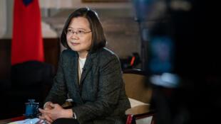台湾总统蔡英文接受英国广播公司专访资料图片
