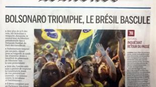 Manchete do jornal Le Monde desta segunda-feira é a eleição de Jair Bolsonaro.