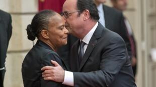 Christiane Taubira et François Hollande à l'Elysée, le 28 septembre 2016.