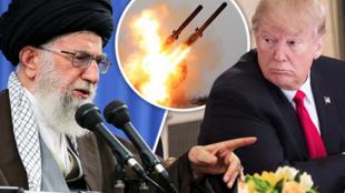 伊朗最高领袖哈梅内伊与美国总统特朗普示意图