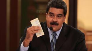 Tổng thống Venezuela Nicolas Maduro loan báo việc phát hành đồng bolivar chủ quyền ngày le 17/08/2018.