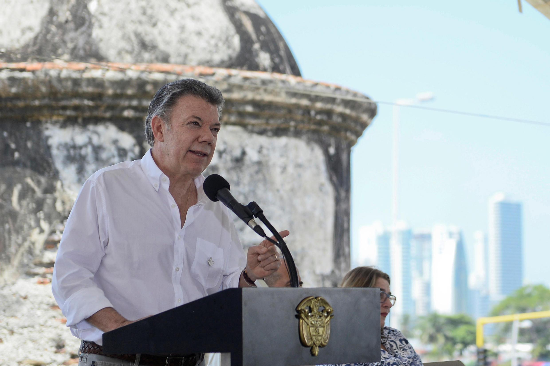 O presidente de Colômbia, Juan Manuel Santos