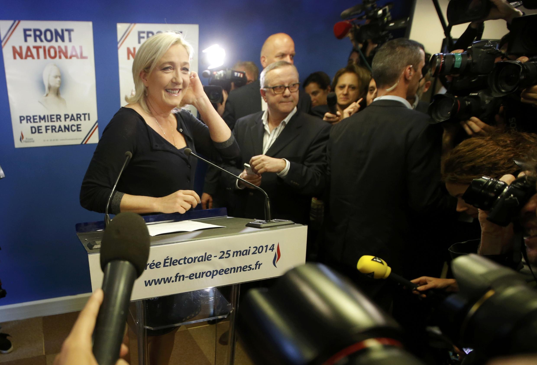 Marine Le Pen, présidente du Front National, le 25 mai 2014, suite aux résultats des élections européennes en France.