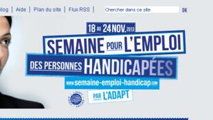 Page d'accueil du site internet présentant la Semaine pour l'emploi des personnes handicapées.