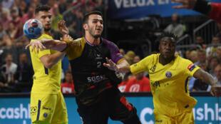 Lors du match de handball qui a opposé Nantes au Paris Saint-Germain, le 26 mai 2018 à Cologne, lors de la demi-finale de la Ligue des Champions.