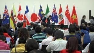 Preparativos de la conferencia de prensa para anunciar el fin de las negociaciones del TPP. Danang, Vietnam 11 noviembre 2017