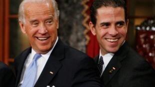 美国大选民主党候选人拜登与次子亨特·拜登资料图片