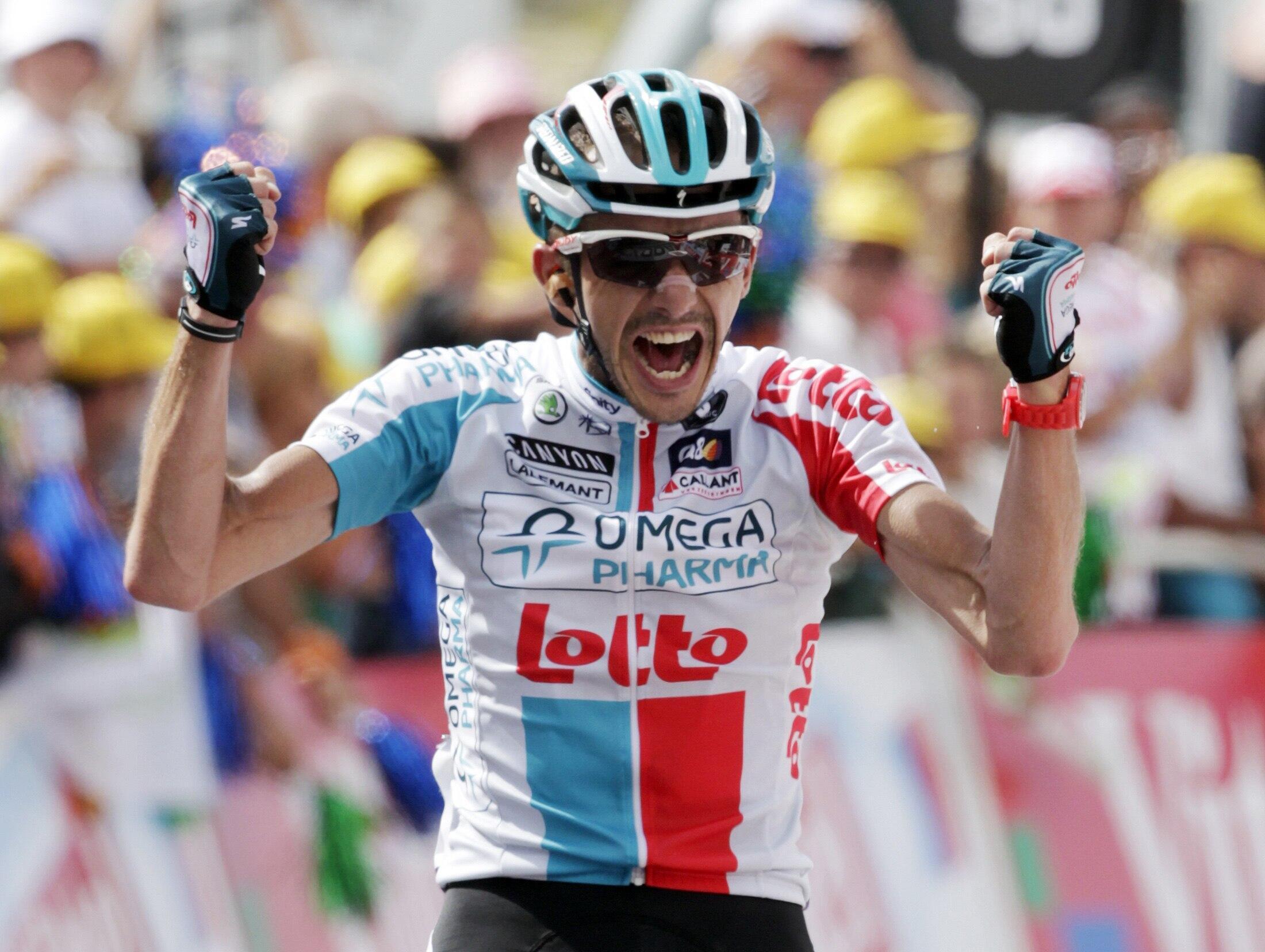 """Бельгиец Йелле Ванендерт - победитель 14 этапа """"Тур де Франс"""" в субботу 16 июля 2011."""