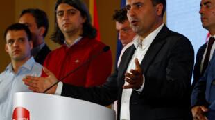 Le Premier ministre macédonien Zoran Zaev lors de son discours après les résultats du référendum à Skopje, le 30 septembre 2018.