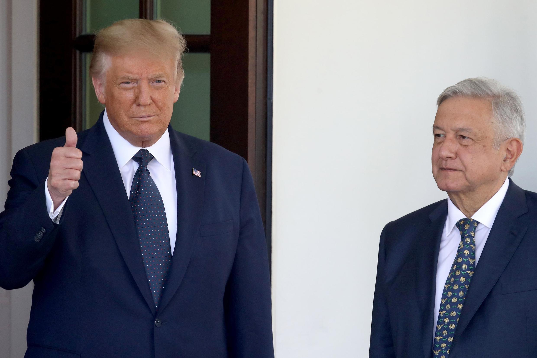 El presidente de EE.UU. Donald Trump y su homólogo mexicano Andrés Manuel López Obrador en la Casa Blanca, el 8 de julio de 2020.