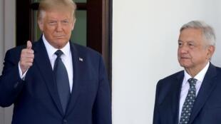 Le président américain Donald Trump et son homologue mexicain Andrès Manuel Lopez Obrador à la Maison Blanche, le 8 juillet 2020.