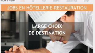 La page d'accueil de «Roast work & Travel»