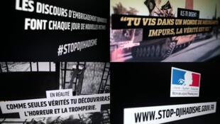 Une combinaison de captures d'écran du site www.stop-djihadisme.gouv.fr.