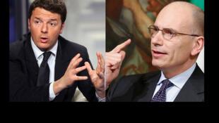 Matteo Renzi, líder do Partido Democrático (PD, centro-esquerda), e Enrico Letta, primeiro-ministro italiano.
