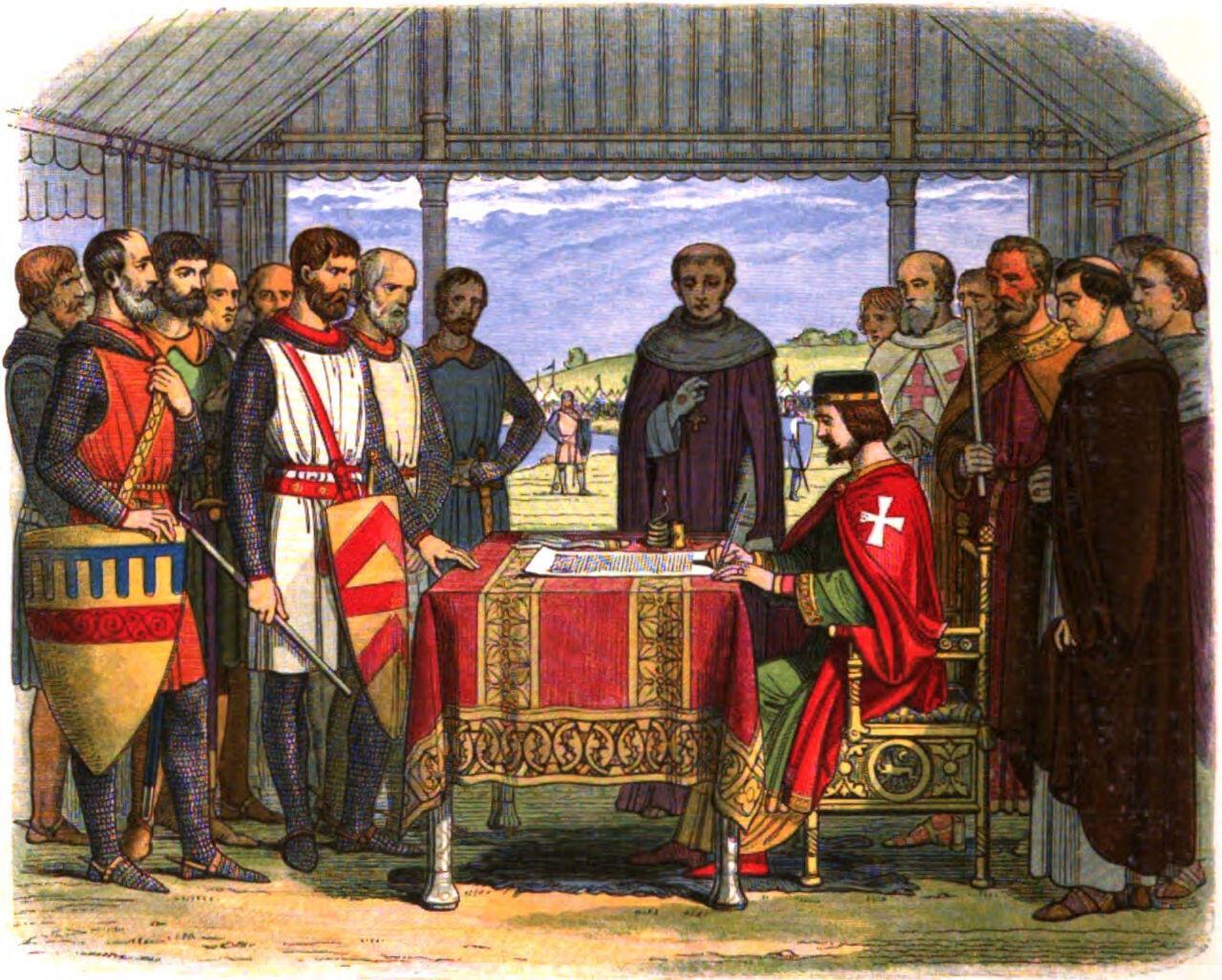 Le roi Jean sans Terre signant la Magna Carta, le 15 juin 1215.