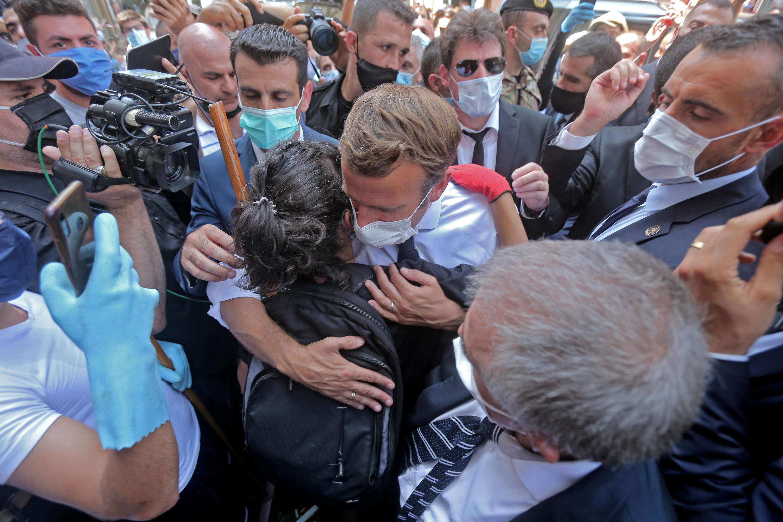 On Friday, President Macron visited Beirut's badly affected Gemmayzeh neighborhood.