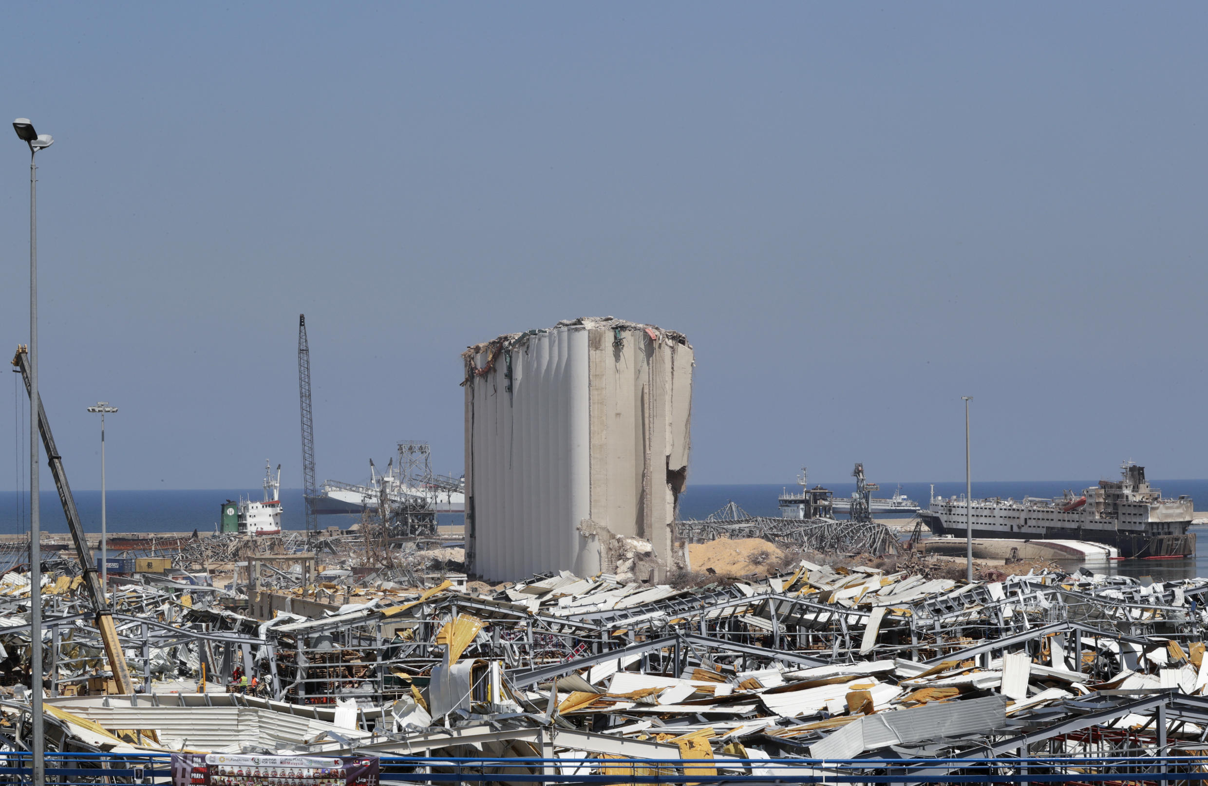 Destruction at Beirut port after the mega-blast that ravaged swathes of the Lebanese capital on August 4