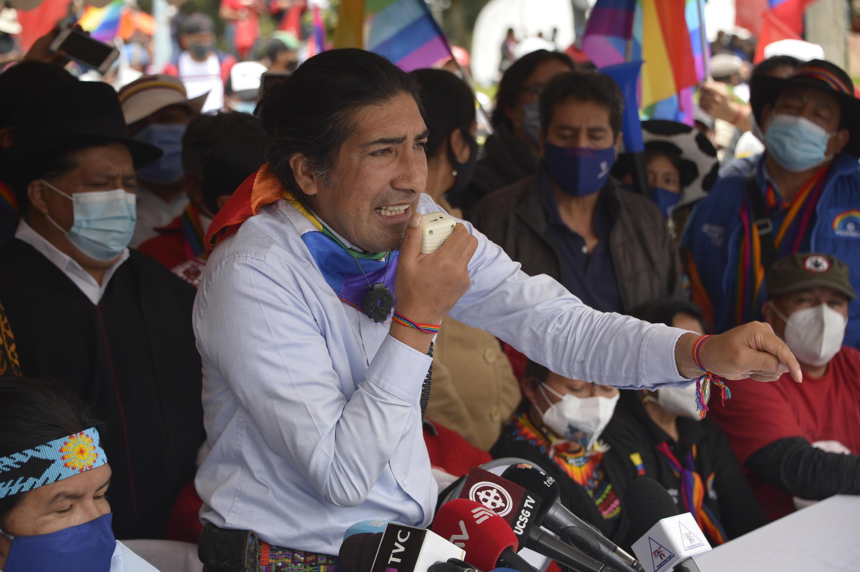 El exaspirante a la Presidencia de Ecuador Yaku Pérez en una protesta frente al Consejo Nacional Electoral (CNE), en Quito, el 23 de febrero de 2021