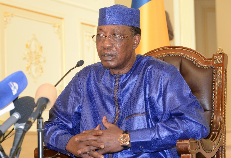 Rais wa Chad Idriss Déby Itno wakati wa mkutano na waandishi wa habari kwenye ikulu ya rais huko N'Djamena, Agosti 9, 2019.
