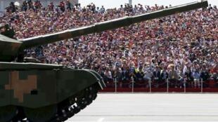 Đơn vị xe bọc thép trang bị pháo phòng không tham gia diễn binh trước Thiên An Môn, 03/09/2015.