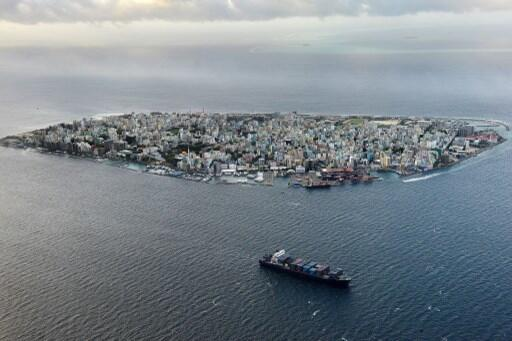 Aerial view of Malé, the capital of the Maldives in the Indian Ocean