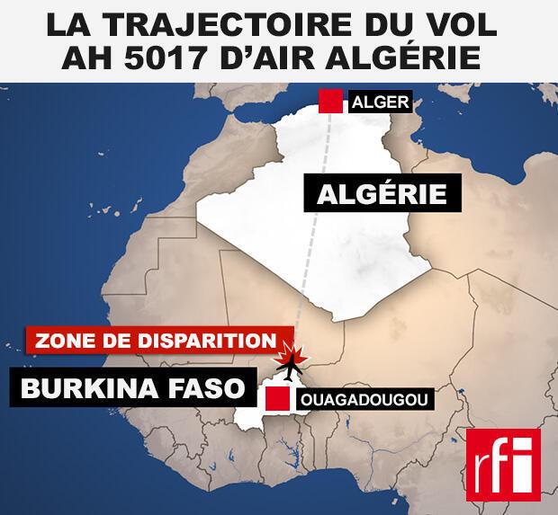 L'épave de l'avion d'Air Algérie a été retrouvée dans le nord du Mali, près de la frontière avec le Burkina Faso