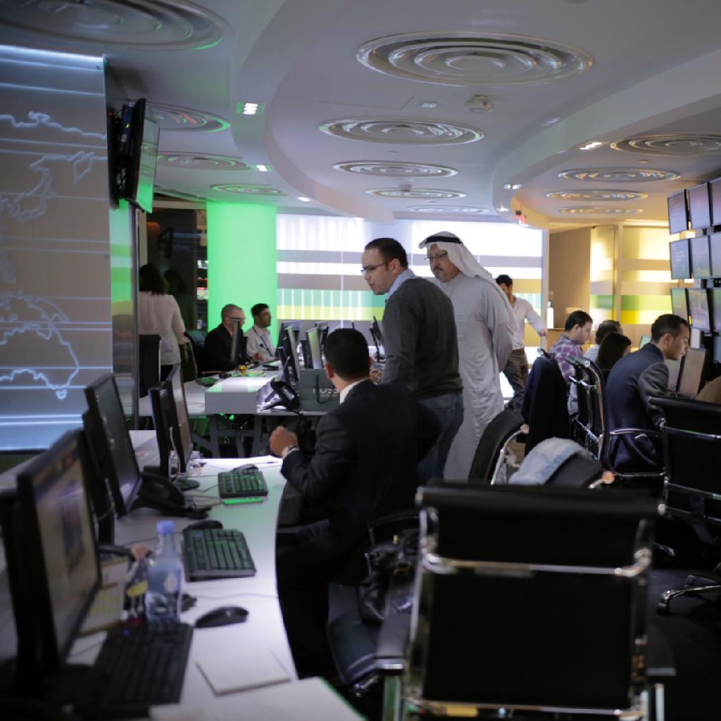 Redação do novo canal de televisão em árabe Al-Arab.