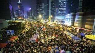 Một góc của phong trào chiếm lĩnh trung tâm tại khu Admiralty, ngày 10/12/2014.