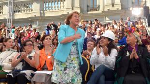 La présidente du Chili, Michelle Bachelet, le  2015.