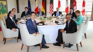 G7 reunido em Ise-Shima com Shinzo Abe e Barack Obama em primeiro plano. 26 de Maio de 2016
