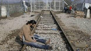 Мигрант на греко-македонской границе