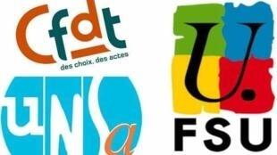نشان برخی از سندیکاهای فرانسوی که بیانیه مشترک در باره ایران را امضا کردهاند