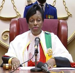 Marie-Madeleine Mborantsuo, Mkuu wa Mahakama ya Katiba ya Gabon.