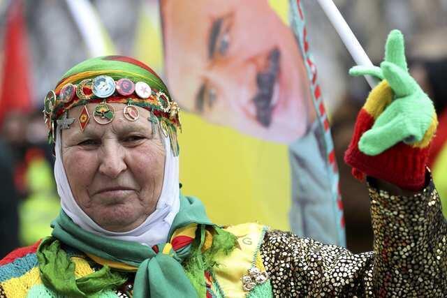 A Kurdish woman on the Strasbourg demonstration