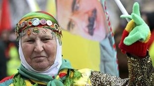 A Kurdish woman on the Strasbourg demonstration