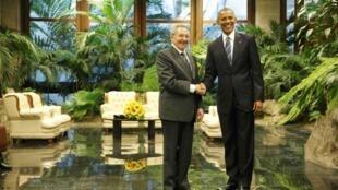 美國總統奧巴馬與古巴總統卡斯特羅舉行歷史性的會面,2016年3月20日,古巴革命宮