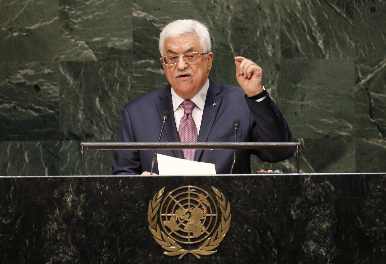 Rais wa Palestina Mahmoud Abbas wakati wa hotuba yake katika Mkutano Mkuu wa Umoja wa Mataifa Septemba 26, 2014.