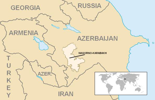 Vùng Nagorny Karabakh, nằm giữa Armenia và Azerbaidjan.