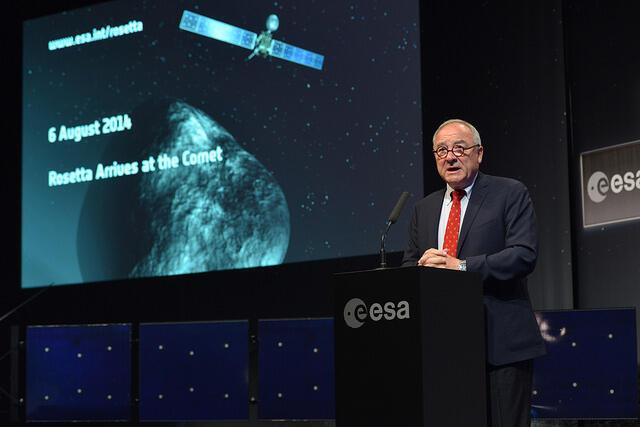 Cerimônia de acompanhamento da chegada de Rosetta ao foguete.