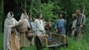 Recriação histórica medieval na cidade de Marles, na região da Picardie