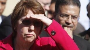 Catherine Ashton, le chef de la diplomatie européenne lors de son déplacement à Gaza, le 25 janvier 2012.