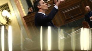 Pedro Sánchez defiende su investidura en el Parlamento español. Madrid, 5 de enero de 2020.