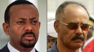 El primer ministro etíope Abiy Ahmed (izquierda) y el presidente eritreo Issayas Afewerki (derecha).