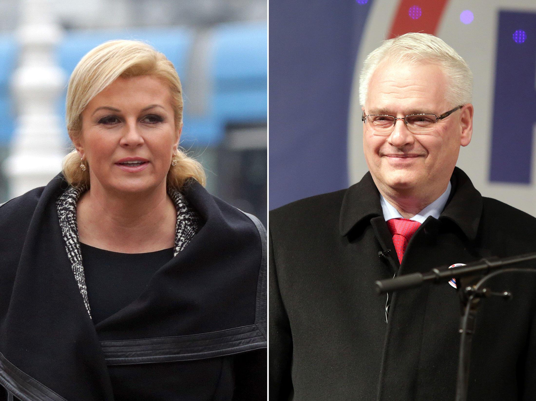 Hai ứng cử viên Kolinda Grabar-Kitarovic và tổng thống mãn nhiệm Ivo Josipovic - AFP / STRINGER