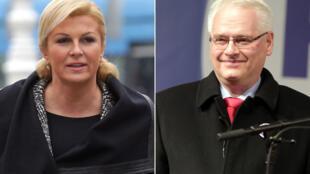 Kolinda Grabar-Kitarovic (g) et le président sortant Ivo Josipovic pourraient se retrouver face à face au second tour.
